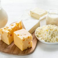 Assortment of dairy products rich in calcium