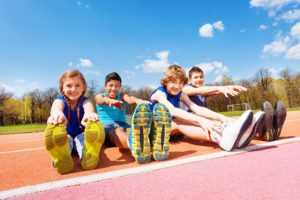 kids stretching before exercise
