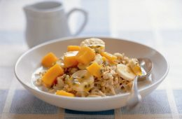 Bircher muesli with tropical mangos bannana and passionfruit