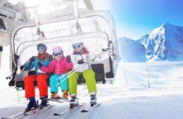 Healthy skiers on ski lift enjoying themselves