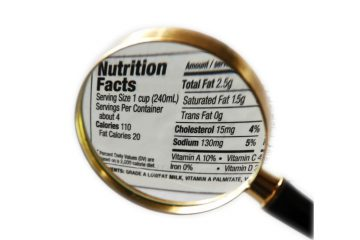 Magnifying glass over nutrition facts and carbohydrate values