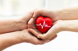 Mans hand donating a red heart organ with cardiogram to woman