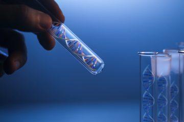 DNA molecule in glass tube in hand of scientist on blue (3d render dna molecular)