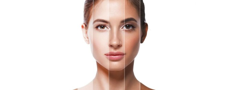 Woman with different types of healthy looking skin